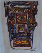 acuarela-sobre-papel-30x42-mascara-azteca